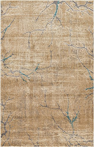 Unique Loom Aurora Collection Botanical Vintage Light Brown Area Rug (5' 0 x 8' 0)