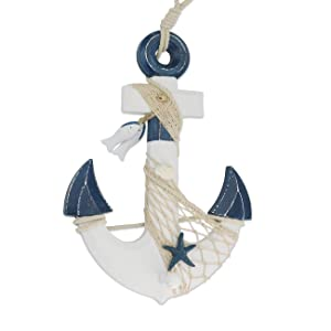 Sunnygalde 15.5''H Wooden Anchor with Rope and Crossbar, Wood Nautical Decor Anchor Wall Hanging Ornament Plaque (Dark Blue)