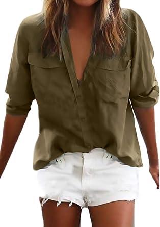 Camisa Mujer Primavera Otoño Manga Larga V-Cuello Unicolor Blusa Anchas Modernas Casual Ocasional Tops Camicia Bluse Shirt Talla Grande: Amazon.es: Ropa y accesorios