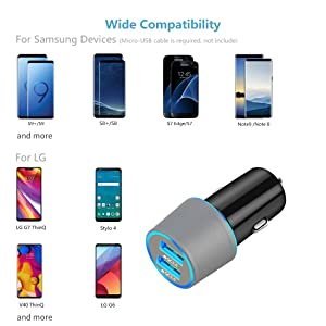 Fast USB C Car Charger, Compatible Samsung Galaxy S10+/S10e/S10/S9/S9 Plus/S8/S8 Plus/S8 Active/Note 9/Note 8, Quick Charge 3.0 Dual USB Rapid Car Charger with Type C Cable 3.3ft (Color: Gray)