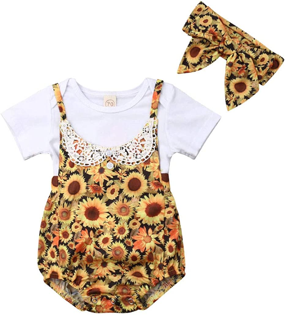Newborn Baby Girl Toddler Infant Floral Romper Bodysuit Jumpsuit Outfit Clothes