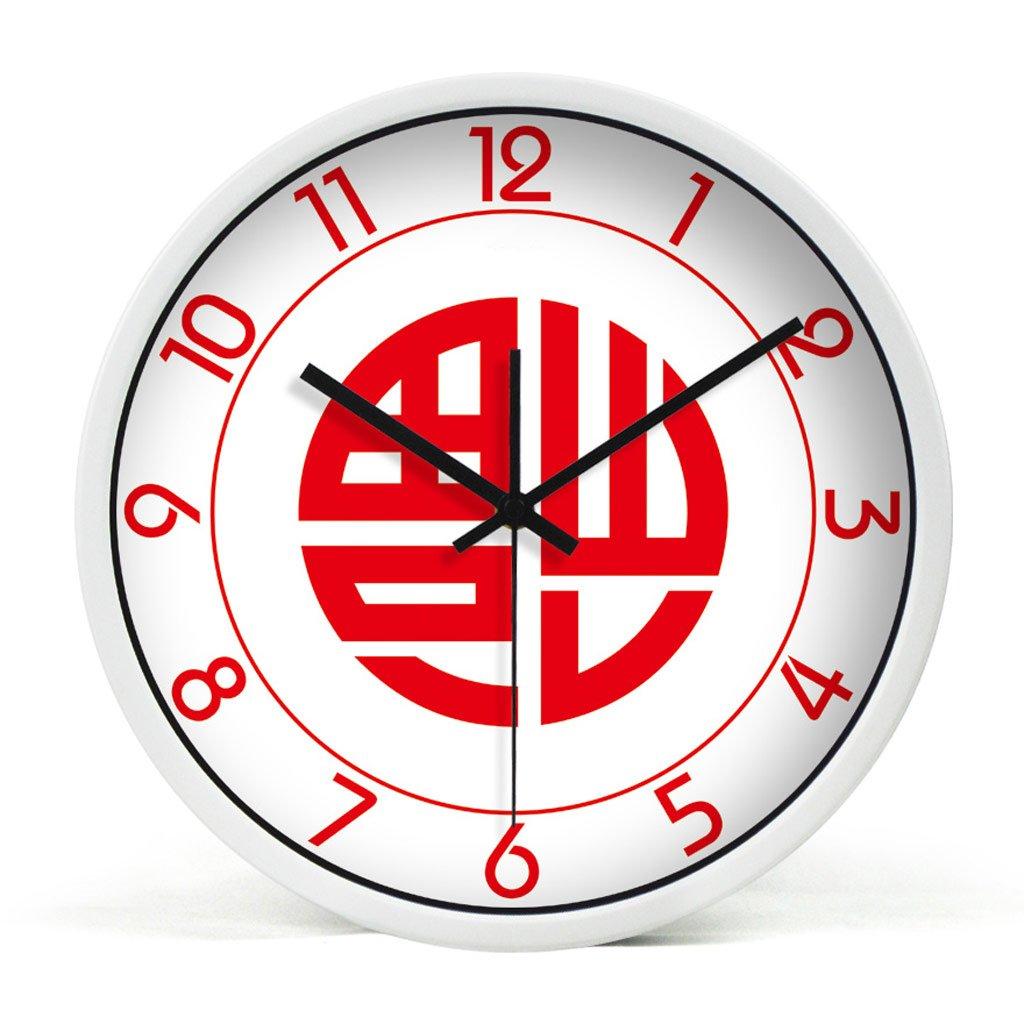 掛け時計 ウォールクロック12インチサイレント掃除リビングルームクリエイティブキャラクターラージウォールクロックウォッチ Rollsnownow (色 : 白) B07BRSZFXL白
