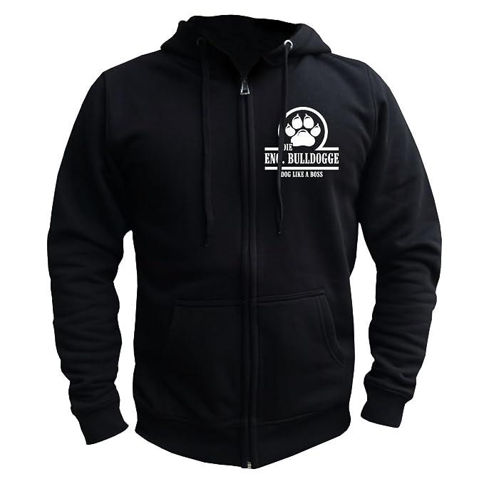 Hombres y hombre con capucha chaqueta Boss de bulldog inglés con espalda Impresión Negro negro: Amazon.es: Ropa y accesorios