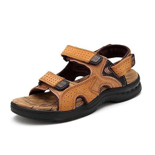 596248dda GenialES Sandalias de Marcha Playa para Hombre de Cuero con Velcro  Ajustable Men s Sandals Caqui Talla