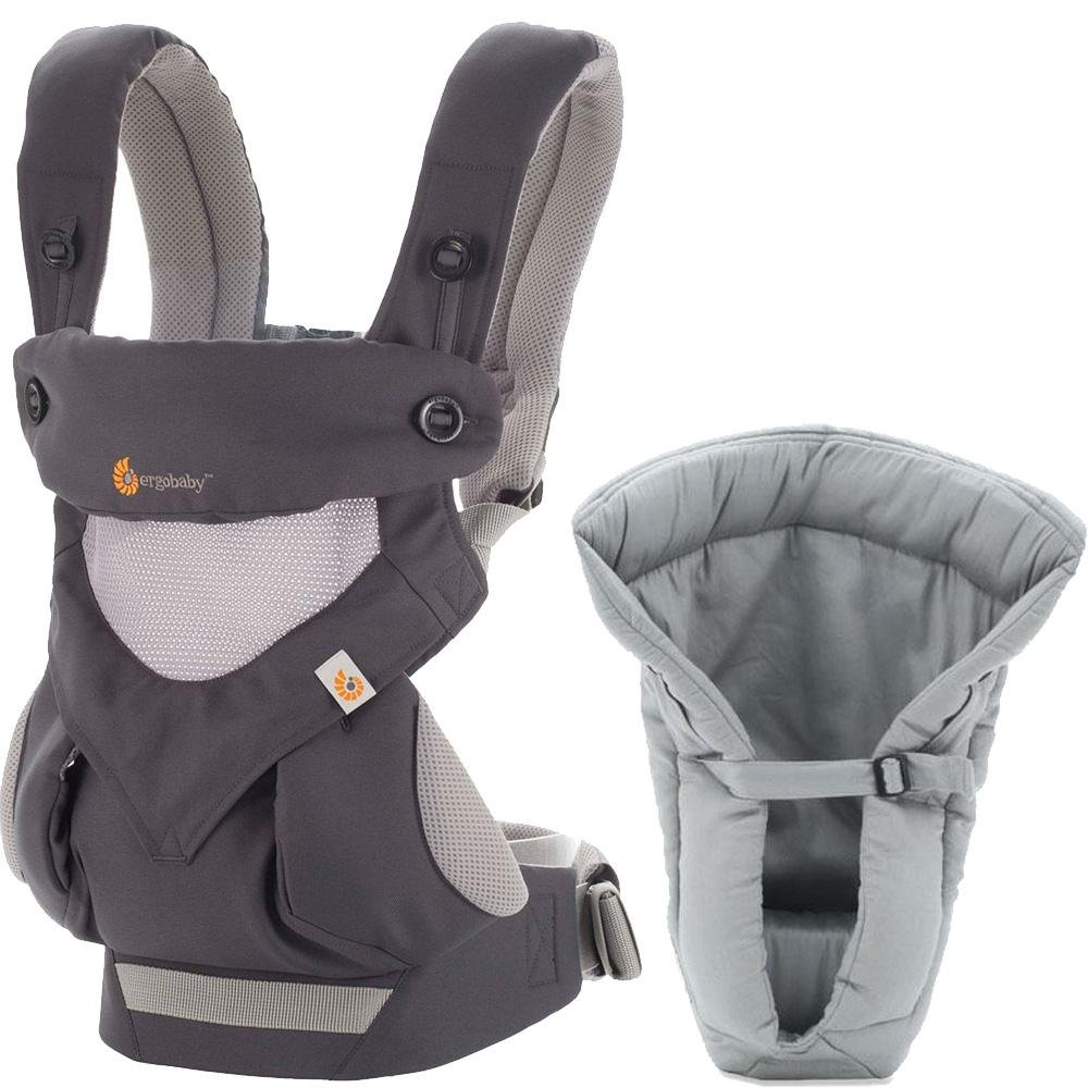 Ergobaby Bundle - 2 Items: Cool Carbon Grey All Carry Position 360 Baby Carrier and Infant Insert Grey