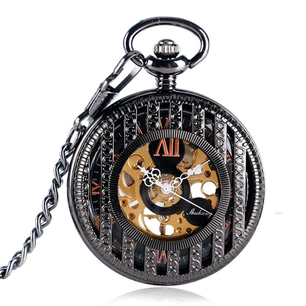 Mechanical Pocket Watches, for Nurse Black Elegant Hand Winding Pocket Watches for Men Women, Stripe Case Pocket Watch Gift