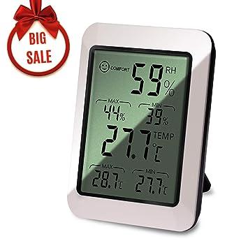 Pemukiten Termómetro Higrometro Digital Interior, Medidor de Interior Humedad y Temperatura con Gran LCD Pantalla Medidor Temperatura, ...