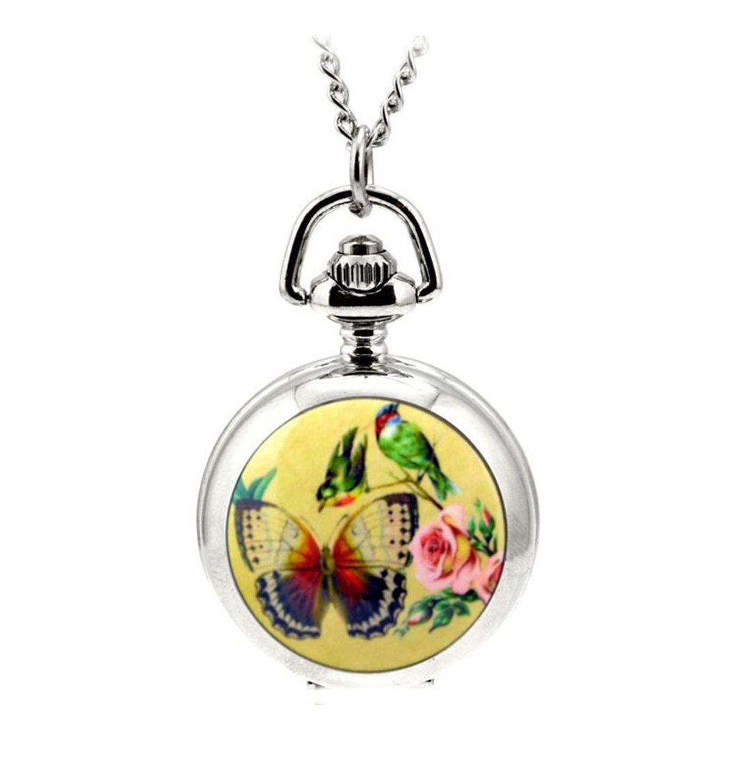 WZC Small Size Colorful Butterfly Pocket Watch