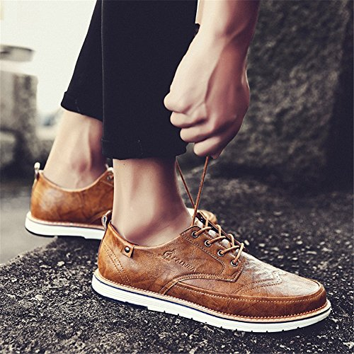 Pure XUE Traspirante Business Un uomo lavoro da up Bianco Pure Scarpe Black leggero Shoe PU Grey Casual Scarpe Business Pure Estate Brown formale Primavera Lace UqUrFS