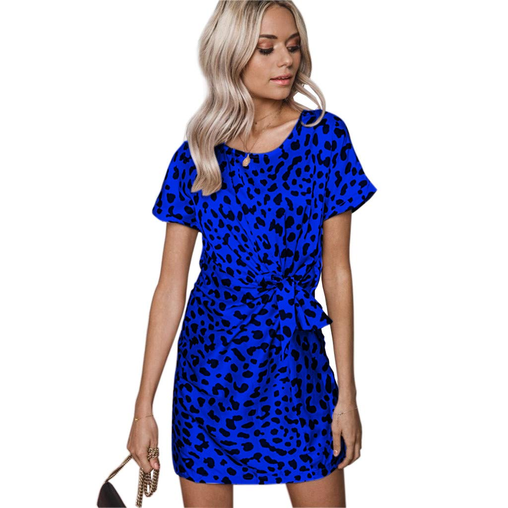 Amazon.com  Peacur Women Short Sleeve Dresses Fashion Summer Leopard Print  Belt Lace-up Straight Sexy Casual Mini Dress  Clothing a2a16dce6