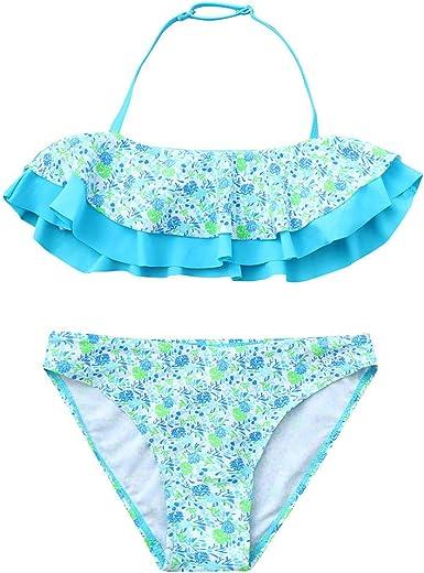 Voberry@ Two Piece Tankini Swimsuit Hawaiian Ruffle Swimwear Bathing Suit Set