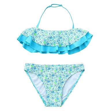 7225780fb2f Kingspinner Girls Two Piece Bikini Ruffles Floral Print Summer Swimwear  Swimsuit 7-14 Years (