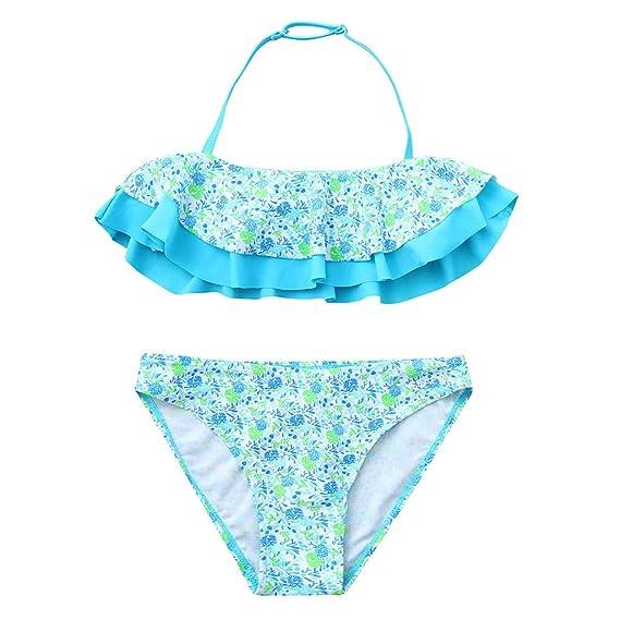 Mitlfuny Bikini Niñas Verano Traje de Baño para Bebés Dividir Bañador de Natación Floral Impresión Volantes Cuello Halter Tops + Triángulo Bragas ...