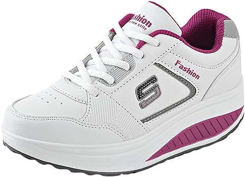 Mujer Zapatillas De Deporte Malla Air Cuña Cómodos Sneakers Mujer Zapatillas Running para Hombre Aire Libre Y Deporte Transpirables Casual Negro Rojo Gris 35-40 (Rojo, EU:36 22.5cm/8.9