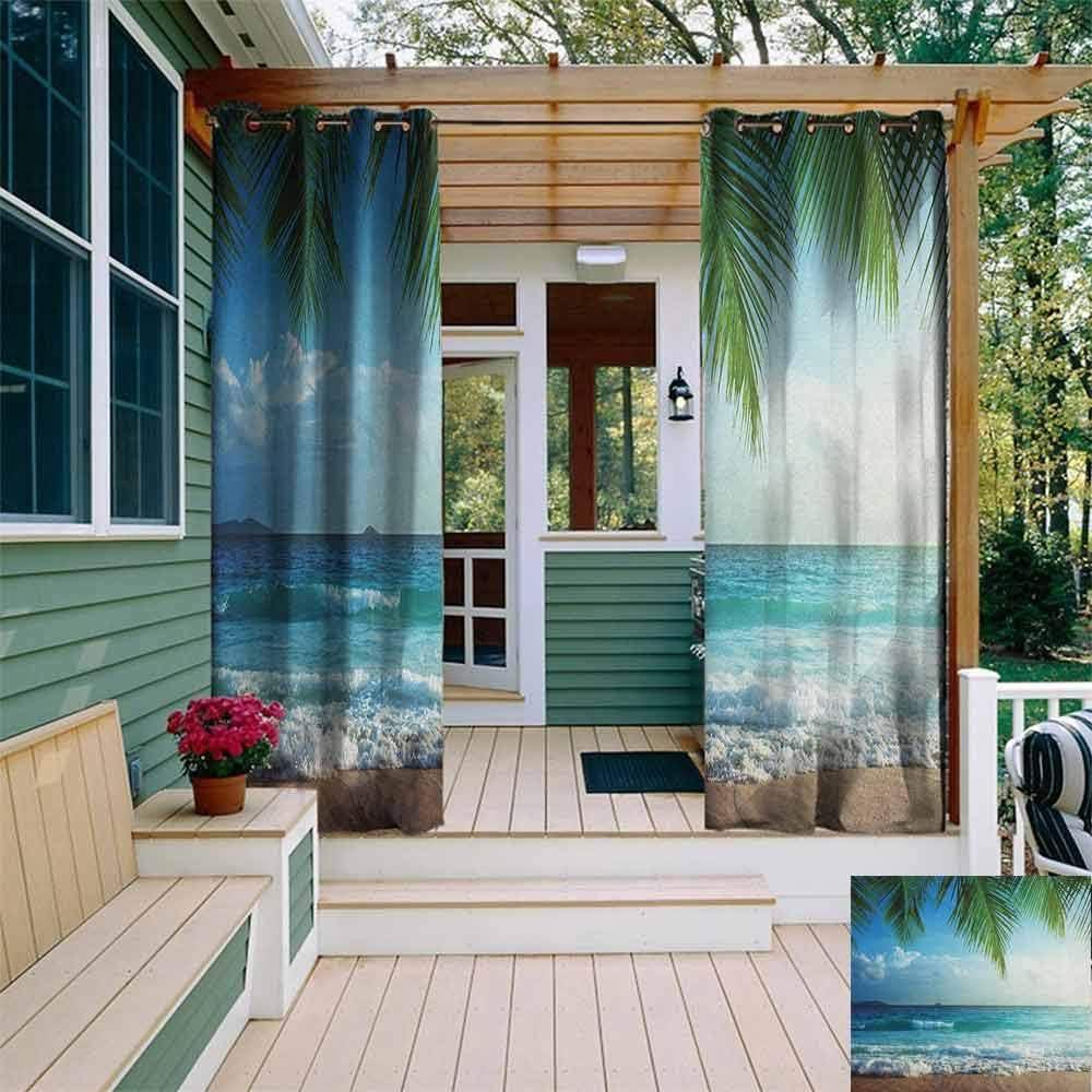 DONEECKL - Cortina impermeable para exteriores, diseño de palmeras ...
