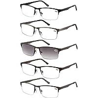 Amcedar 5-pack occhiali da lettura Uomo Mezza Cornice Stile Acciaio Inossidabile Materiale Metallo Primavera Cerniere Compresi Lettura Occhiali da sole +1.50