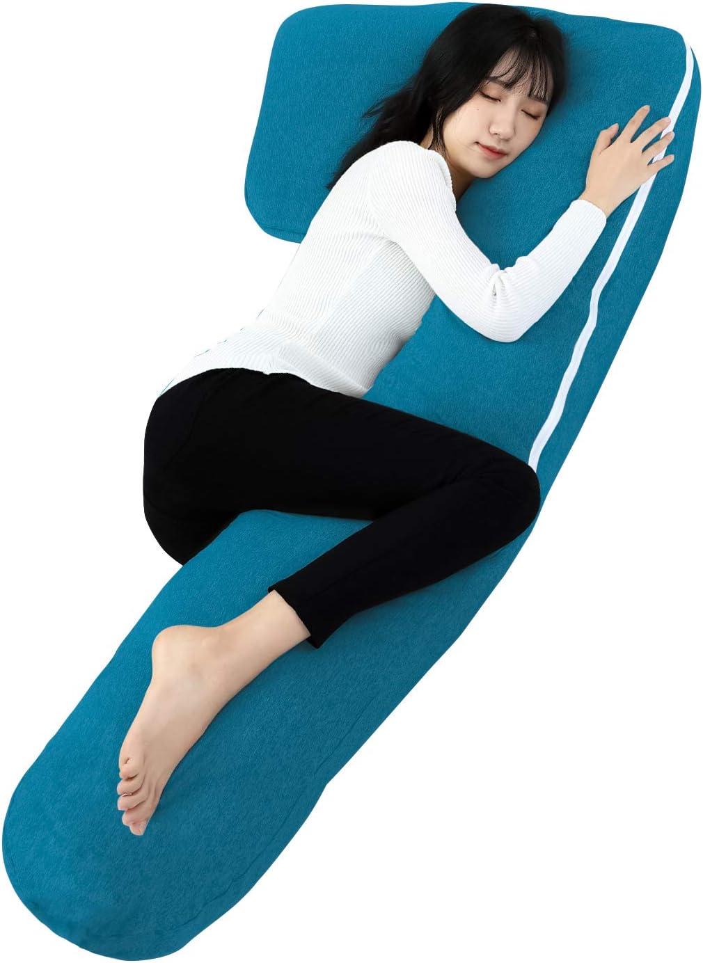 QUEEN ROSE Almohada de Embarazo con Funda de Jersey, Almohada de Cuerpo Completo en Forma de L para Mujeres Embarazadas, Azul
