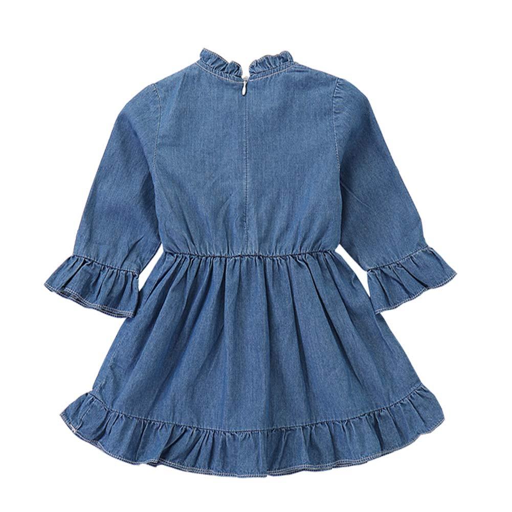 Scfcloth Infant Dress Baby Girl Ruffle Long Sleeve Denim Tutu Zipper Jeans Dress