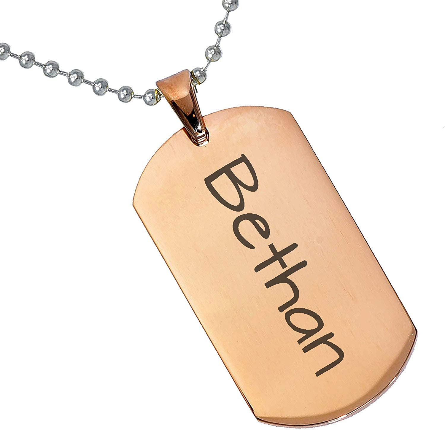 Stainless Steel Silver Gold Black Rose Gold Color Baby Name Bethan Engraved Personalized Gifts For Son Daughter Boyfriend Girlfriend Initial Customizable Pendant Necklace Dog Tags 24 Ball Chain