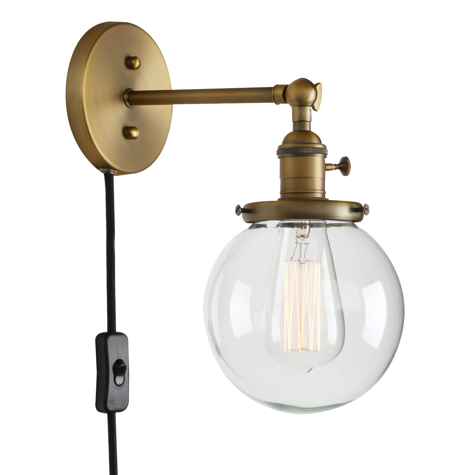 Permo 1-Light Plug in On/Off Switch Wall Sconce with Mini 5.9'' Round Globe Clear Glass Shade Vintage Industrial Wall lamp Light Fixture (Antique)