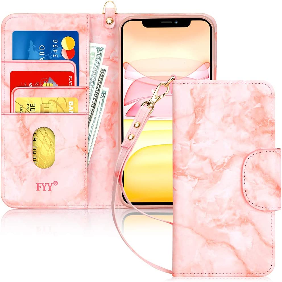 "FYY Case for iPhone 11 Pro 5.8"", [Kickstand Feature] Luxury PU Leather Wallet Case Flip Folio Cover with [Card Slots] and [Note Pockets] for Apple iPhone 11 Pro 5.8 inch Pink"