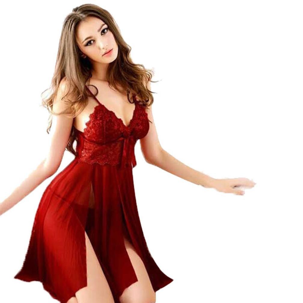 Swyss Sexy Lingerie Sling Split Lace Dress Elegant Women Babydoll Underwear Sleepwear G-string Nightwear (Red)