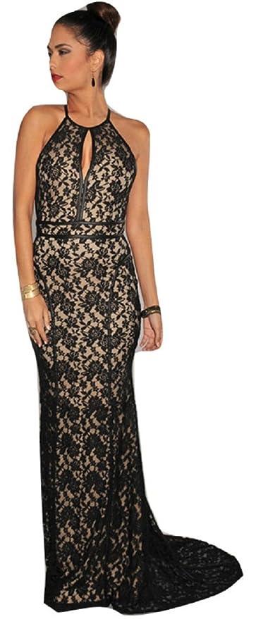 Vestido largo negro y beige con diseño floral y de encaje, vestido de noche,