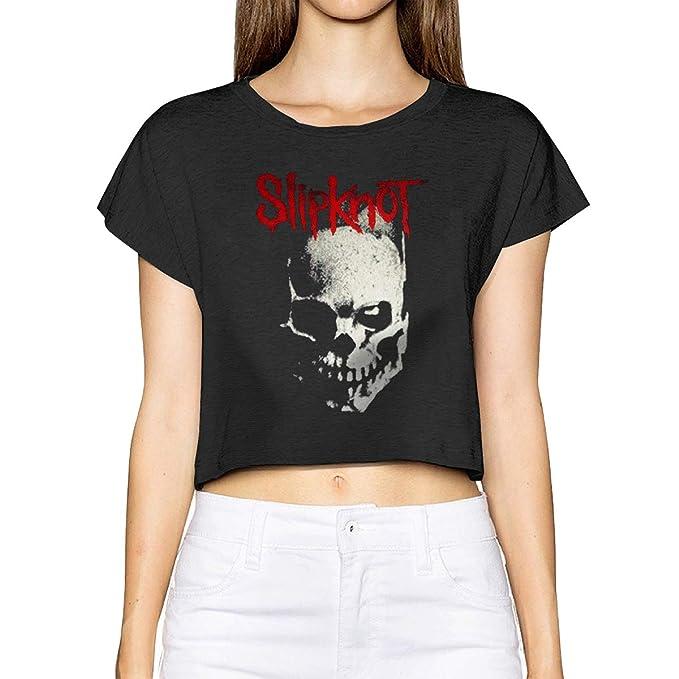 23e552fde3153a Amazon.com  Quemada Women s Slipknot Skull Short Sleeve Crop Top T ...