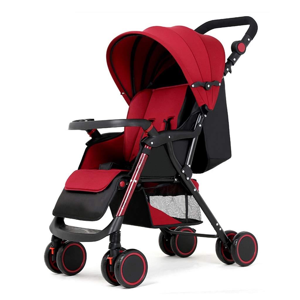 Komfort-Kinderwagen-Reisesystem für 0-3 Jahre Kinder leichter faltbarer Kinderwagen   Stoßfeste 8 Räder   Verstellbarer Sitz   Großer Ablagekorb (Rot)