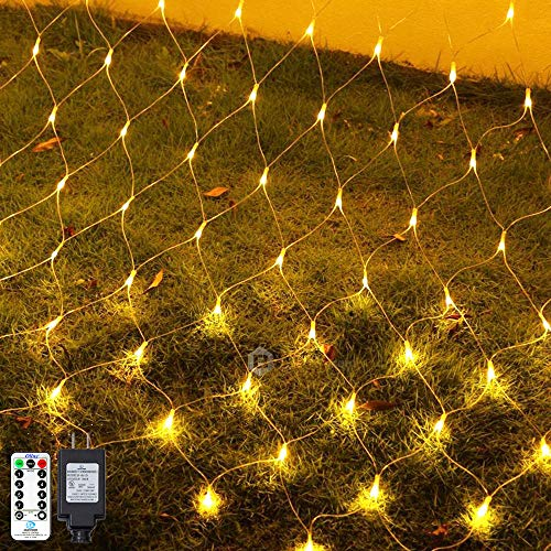 Ollny LED Net Mesh Fairy String Decorative Lights 200 LEDs 9.8ft x 6.6ft Tree-wrap Warm White Lights with Remote for Christmas Outdoor Wedding Garden Decorations (Net Style Tree Trunk Wrap Christmas Lights)