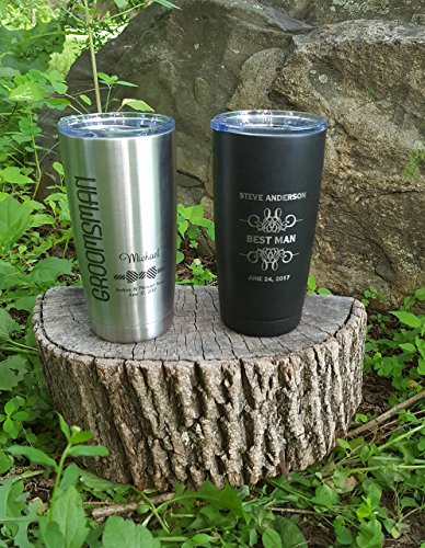 Set of 8 Personalized Polar Camel or YETI Insulated Mugs, Groomsmen Gifts, Best Man Gift, Groomsman Gift, Wedding Party Gifts - Bridesmaid Gifts - ENGRAVED not a decal. ()