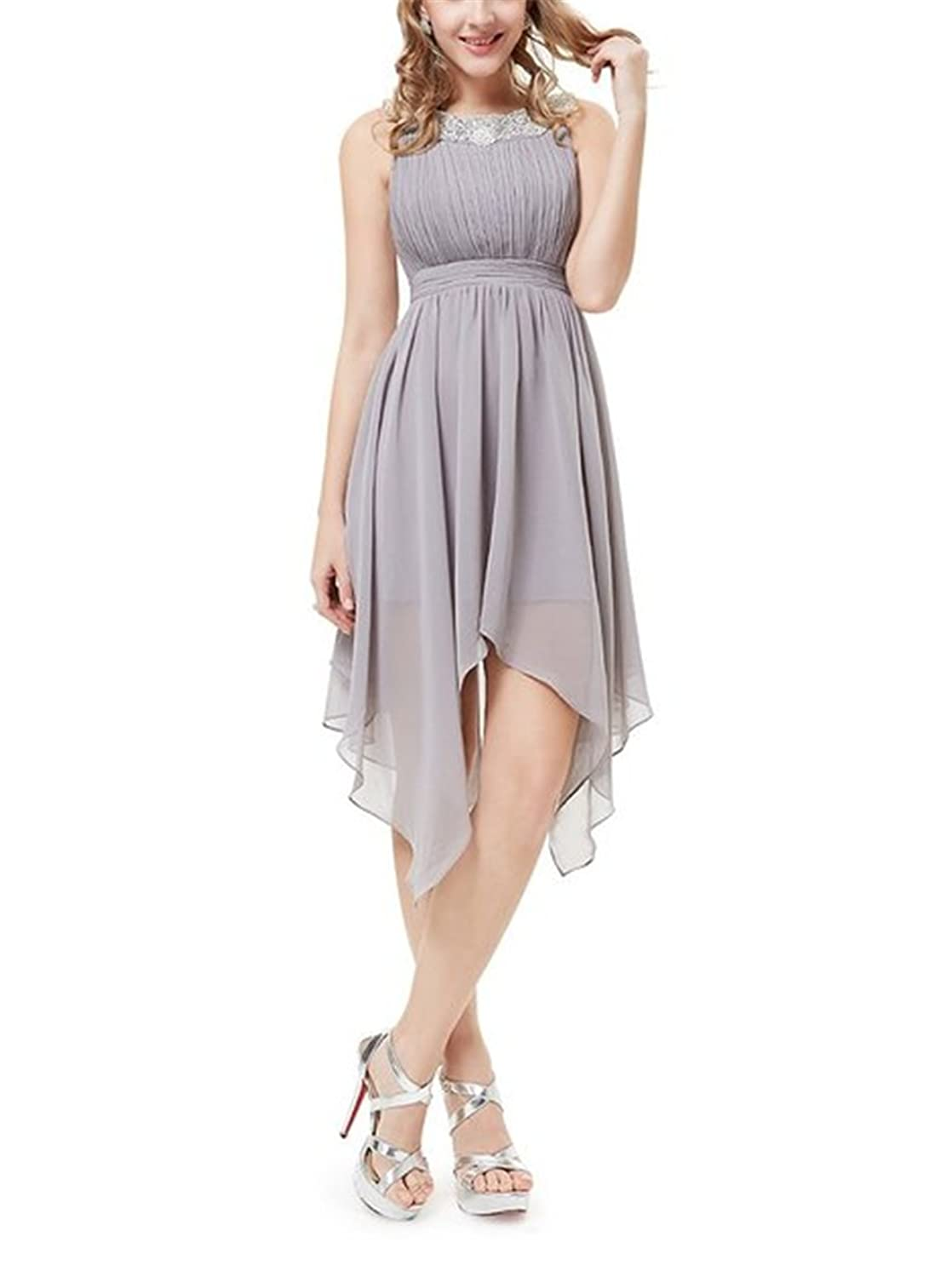 HelloBeautyThingsRound Neckline Ruched Bust Asymmetric Party Dress