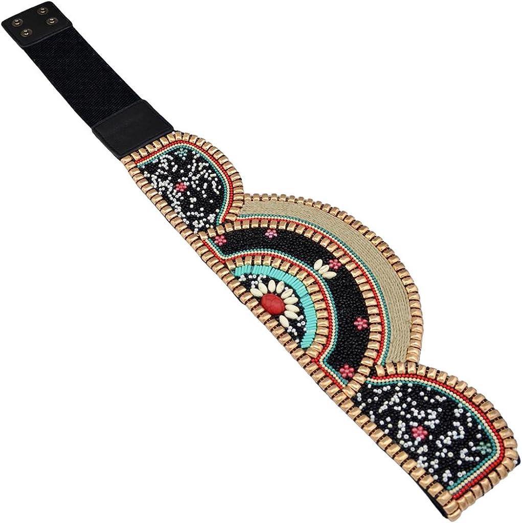 TALLA una talla. Prettyia 1 Pieza Cinturón de Abalorios Étnico Bohemio Venda Ancha Elástica para Cintura Diseño Exquisito