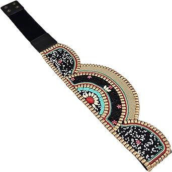 TALLA Talla única. Prettyia 1 Pieza Cinturón de Abalorios Étnico Bohemio Venda Ancha Elástica para Cintura Diseño Exquisito