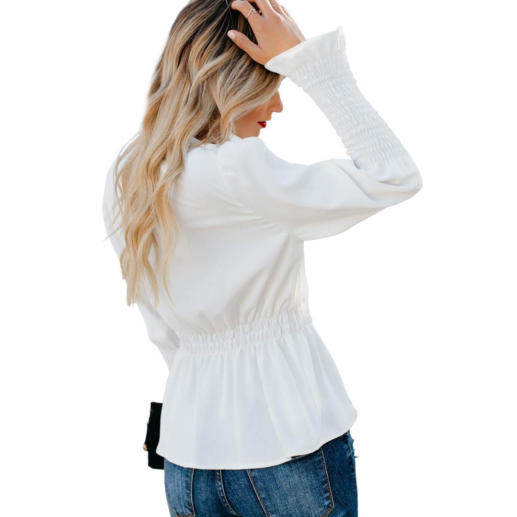 Women Vintage White Shirts Casual Solid Long Sleeve Button V Neck Blouse Fashion Elastic Waist Tops(white,XL) by iQKA (Image #5)