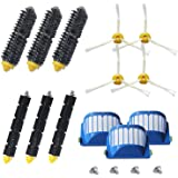 Amyehouse Accessory Replacement Kit of Bristle Brushes & Flexible Beater Brushes & 3-Armed Side Brushes & Aero Vac Filters for iRobot Roomba 600 Series 620 630 650 650 655 660 690 Vacuum Cleaner Parts