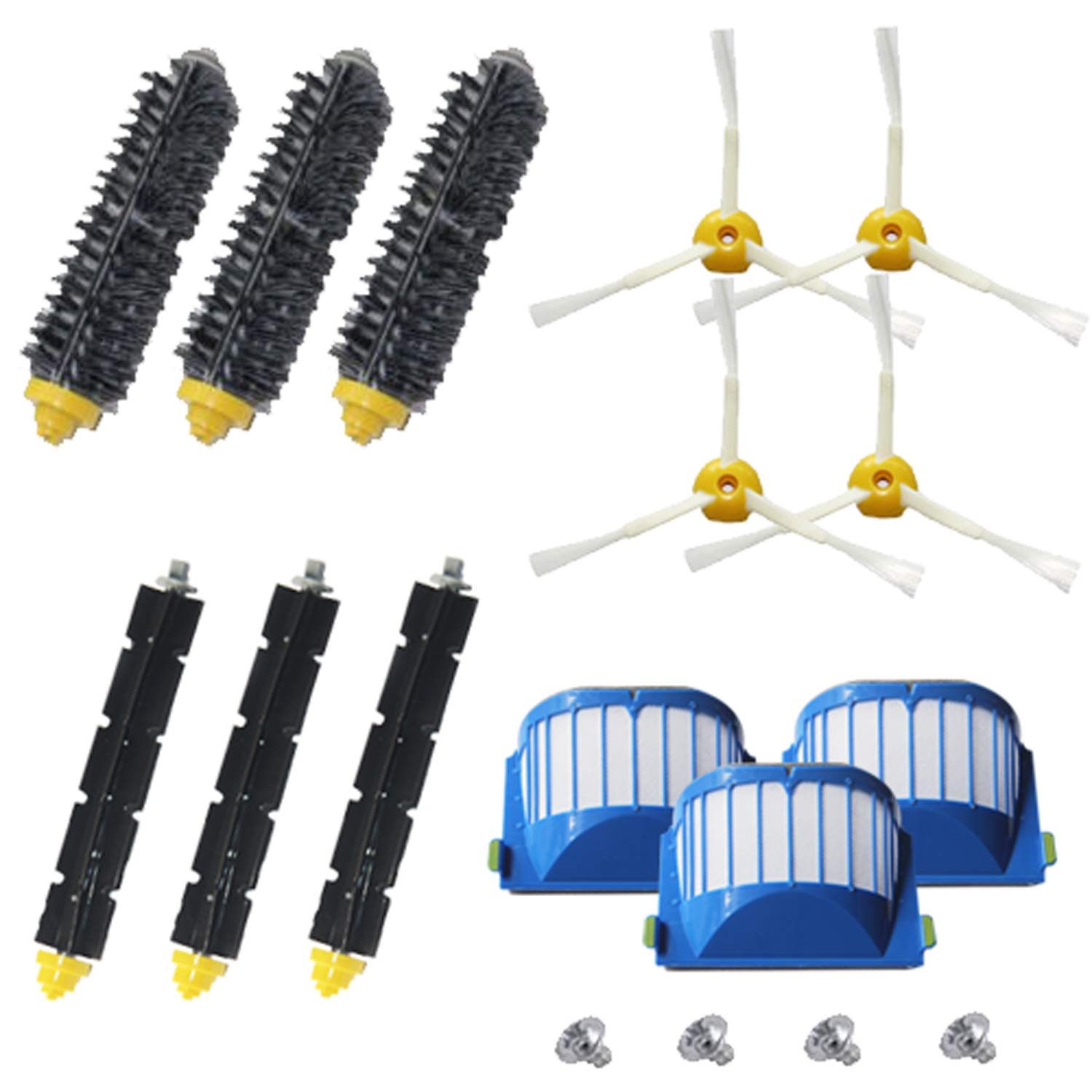 Amyehouse Accessory Replacement Kit of Bristle & Flexible Beater Brushes & 3-Armed Side Brushes & Aero Vac Filters for iRobot Roomba 600 Series 614 620 630 650 660 671 680 690 Vacuum Parts by Amyehouse