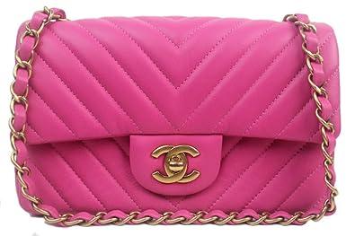 New Chanel Pink Chevron Lambskin Mini Flap Bag  Amazon.co.uk  Shoes ... 6aeb749ad