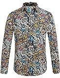 Camisa de manga larga con botones para hombre, de algodón, diseño de cachemira