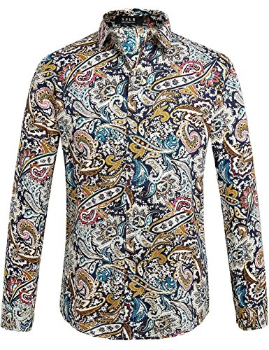 SSLR Men's Paisley Cotton Long Sleeve Casual Button Down Shirt (Medium, Blue Red) 1970s Hawaiian Shirt