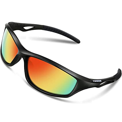 1407f882aab TOREGE Polarized Sports Sunglasses for Men Women for Cycling Running  Fishing Golf TR90 Unbreakable Frame TR010