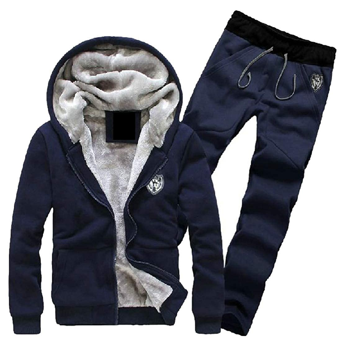 Cromoncent Men Winter Fleece Zip-up Hooded Sweatshirt and Pants Sweatsuit Set