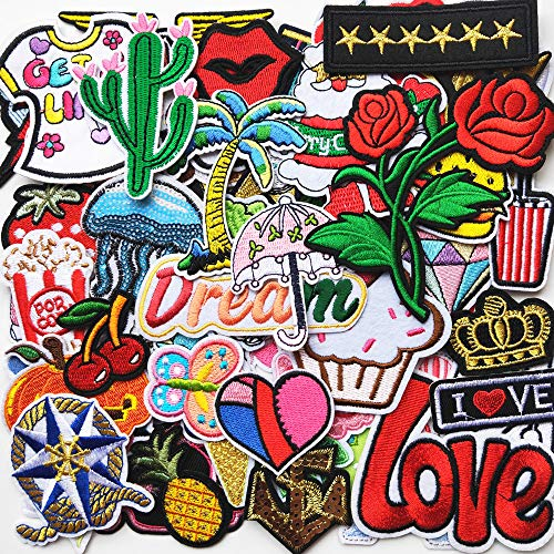 Mosheng Accessory 60pcs DIY Embroidery Mix Patterns Iron On Patches or Sew On Patches Applique for Clothes Backpacks T-shirt Jeans Skirt vests scarf Hat Bag (Style 6)