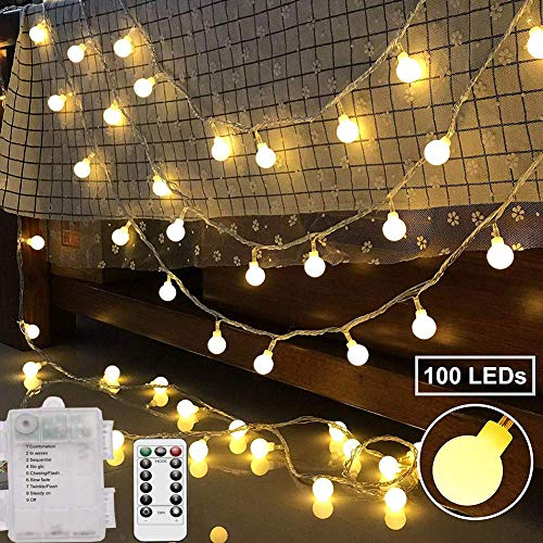 - potulas100LED 33FT String Lights,8 Modes Globe String Lights,Battery and USB Power Supply String,Remote Control Timer, Suitable for Indoor and Outdoor/Christmas/Holiday and Party,Warm White and Color