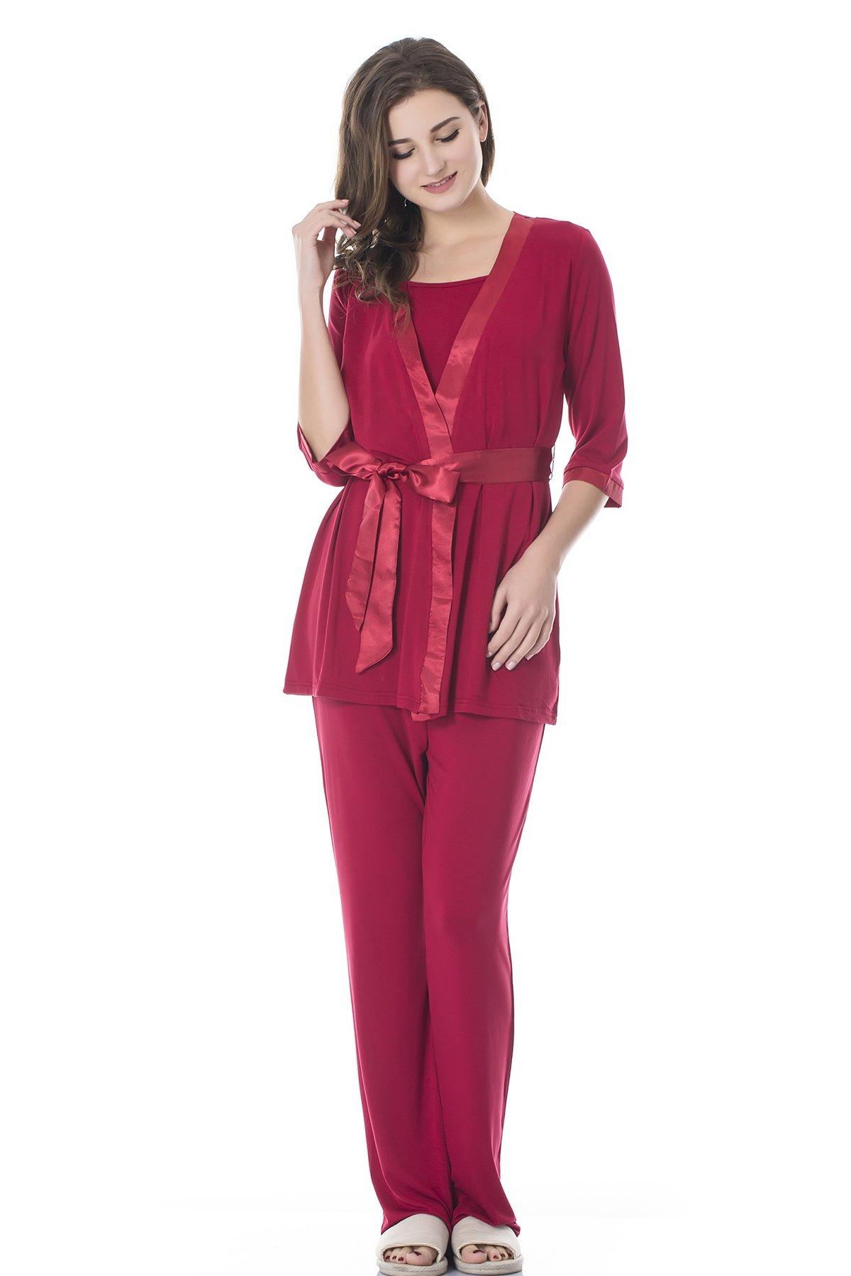Bearsland Women's Maternity 3 Pieces Sleepwear Set Nursing Pajamas For Breastfeeding, Red, Large