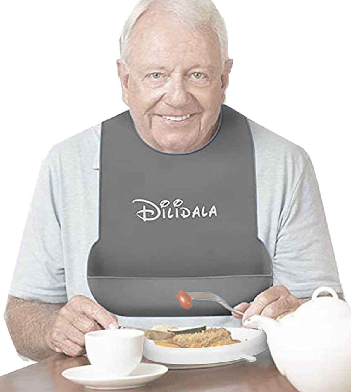 Elderly Silicone Bib, Waterproof Eating Aids Accessories for Parkinson Disabled