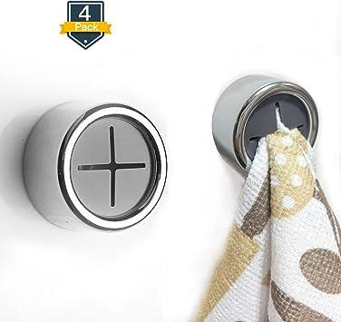 4 Pack Towel Hooks Hook Self Adhesive Bathroom Kitchen Towel Holder Coat Hook