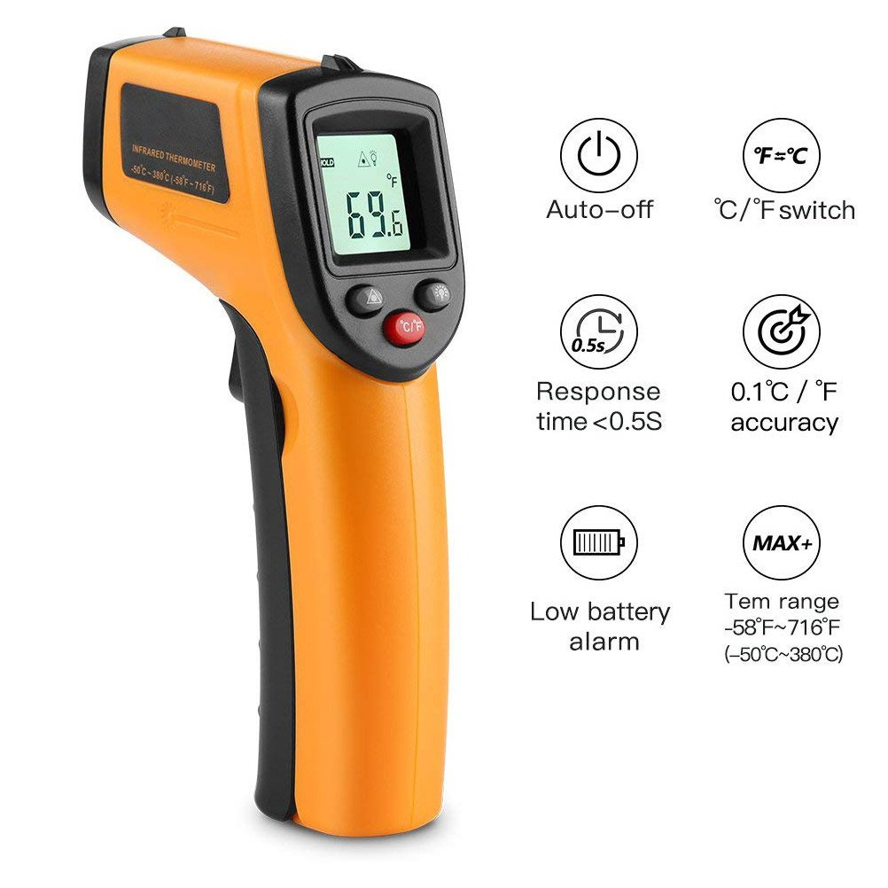 CLKJCAR Non-Contact Digital Laser IR Infrared Thermometer, -50°C ~ 550°C (-58°F~1022°F) - Accurate Readings - for Greenhouse, Cars, Home, Office
