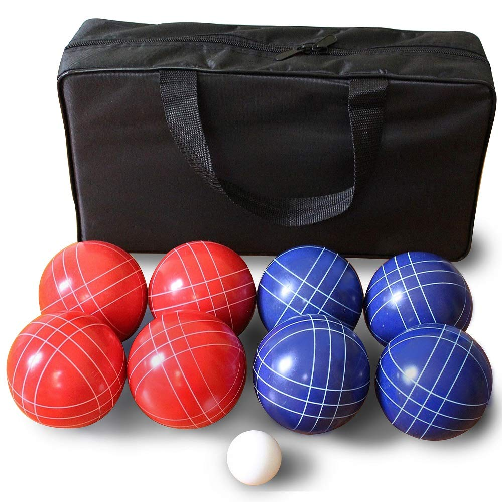 Driveway Games 90mm Backyard Bocce Set. 8 Balls, Pallino, and Bag for 4-Player Bachi by Driveway Games