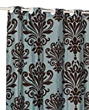 Blue and Brown Shower Curtain Hookless Beacon Hill Brown and Blue EZ On Fabric Extra Wide Shower Curtain with Built in Shower Curtain Hooks, 70
